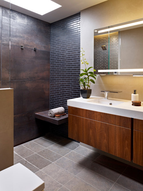 Contemporary Porcelain Tile And Gray Tile Porcelain Floor And Gray Floor  Bathroom Idea In Philadelphia With Part 36
