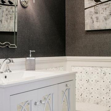 Soft Modern Black and White Powder Room
