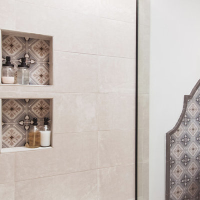 Inspiration for a huge southwestern master multicolored tile and ceramic tile terra-cotta tile and orange floor bathroom remodel in San Diego with raised-panel cabinets, medium tone wood cabinets, white walls, a vessel sink, a hinged shower door and gray countertops