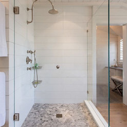 Solid Surface Shiplap Shower Walls
