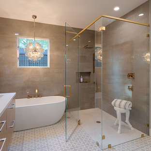 Example of a trendy gray tile cement tile floor and gray floor bathroom design in San Francisco with flat-panel cabinets, light wood cabinets, gray walls, an undermount sink and a hinged shower door