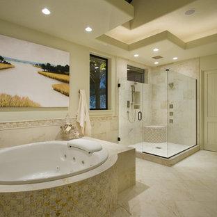 Example of a trendy beige tile bathroom design in Portland