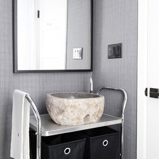 Bathroom - small contemporary 3/4 bathroom idea in San Francisco with open cabinets, gray cabinets, a one-piece toilet, gray walls and a vessel sink
