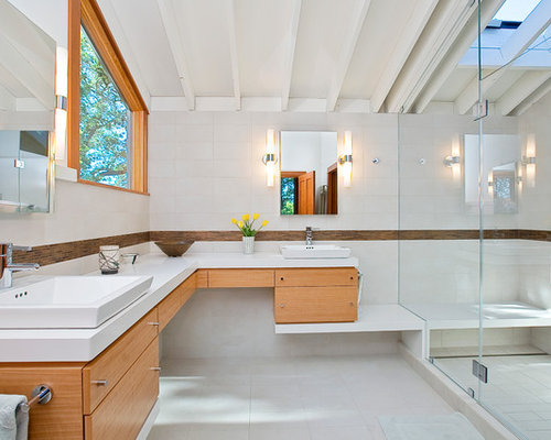 Mid sized contemporary master doorless shower idea in San Francisco with a  vessel sink Corner Double Vanity   Houzz. Double Sink Corner Vanity. Home Design Ideas