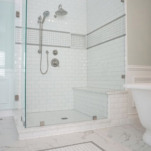 Bathroom - large traditional master white tile and subway tile porcelain tile bathroom idea in St Louis with an undermount sink and green walls