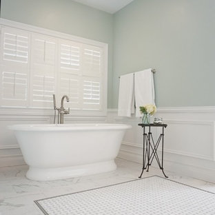 Large elegant master white tile and subway tile porcelain floor bathroom photo in St Louis with an undermount sink, beaded inset cabinets, dark wood cabinets, quartzite countertops and green walls