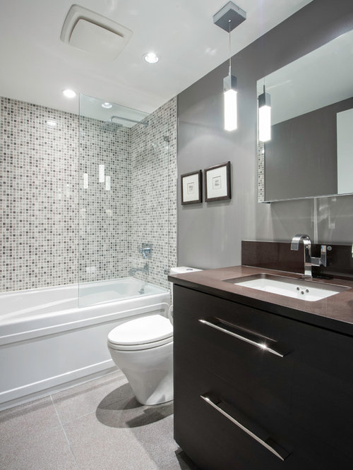 Small contemporary mosaic tile and gray tile ceramic floor bathroom idea in  Vancouver with an undermount. Small Bathroom Tile Design   Houzz