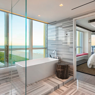 Bathroom - large contemporary master white tile multicolored floor bathroom idea in Miami with multicolored walls