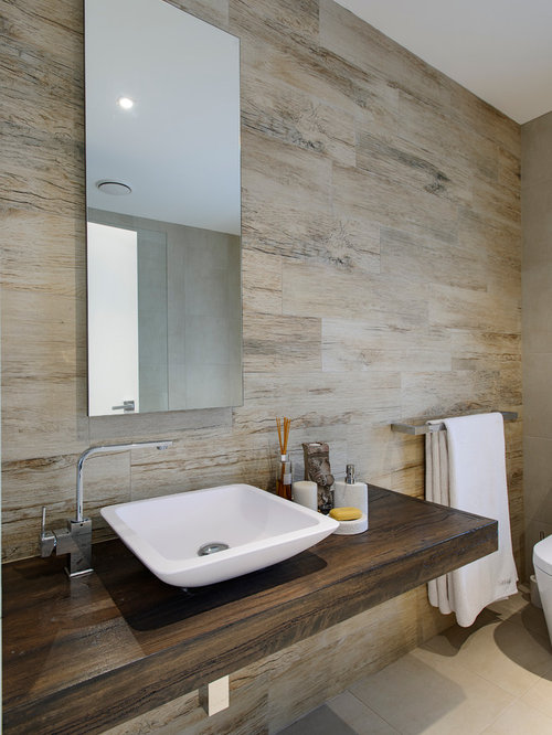 Contemporary Bathroom Idea In Sydney With A Vessel Sink