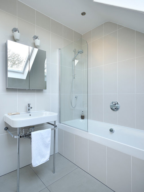 Danish Gray Tile Bathroom Photo In Other With A Console Sink