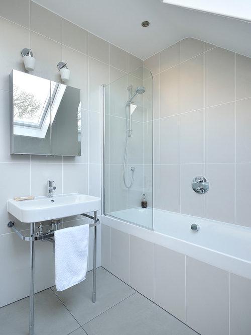 75 Bathroom with Grey Tiles Design Ideas - Stylish Bathroom with ...