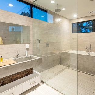 Modelo de cuarto de baño actual, sin sin inodoro, con armarios con paneles lisos, puertas de armario blancas, bañera encastrada sin remate, baldosas y/o azulejos grises, lavabo de seno grande, encimera de cemento y ducha con puerta con bisagras