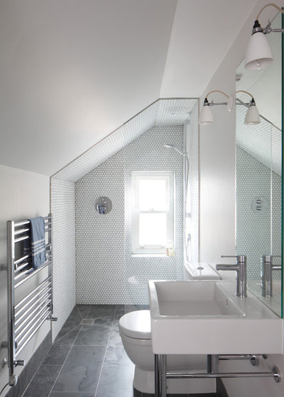 Transitional Bathroom by Robert Rhodes Architecture + Interiors