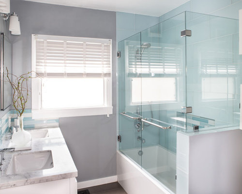 inspiration for a mid sized contemporary master gray tile and glass tile porcelain floor and - Guest Bathroom Remodel
