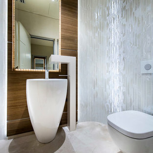 Attirant Trendy White Tile Bathroom Photo In Perth With A Pedestal Sink And A  Wall Mount