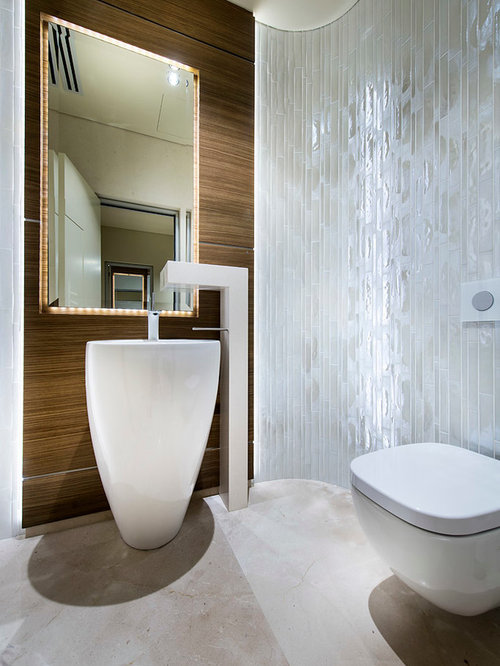 Trendy White Tile Bathroom Photo In Perth With A Pedestal Sink And A  Wall Mount