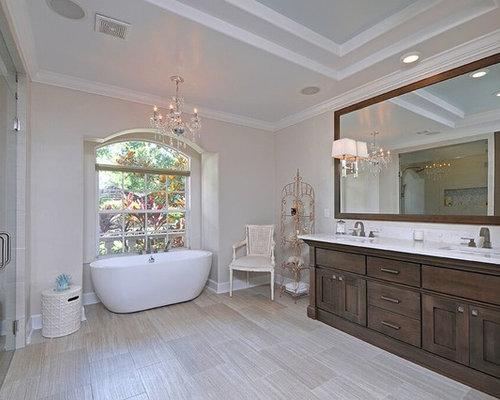 Mid Sized Shabby Chic Style Master Beige Tile And Glass Tile Porcelain  Floor Bathroom