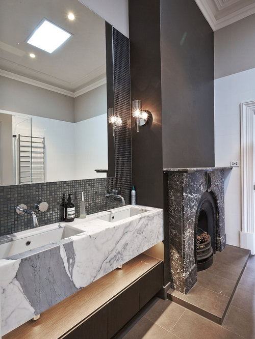 This Is An Example Of A Scandinavian Bathroom In Melbourne With Flat Panel  Cabinets,