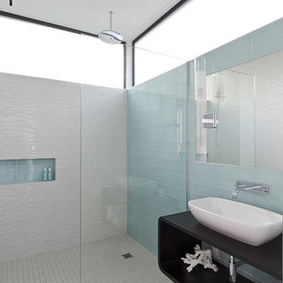 Walk In Shower   Modern Glass Tile And Blue Tile Porcelain Floor And Gray  Floor