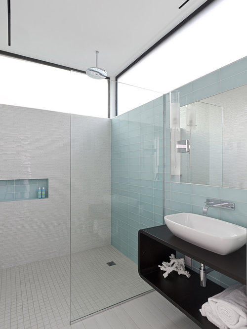 Modern Glass Tile And Blue Tile Porcelain Floor And Gray Floor Walk In  Shower Idea