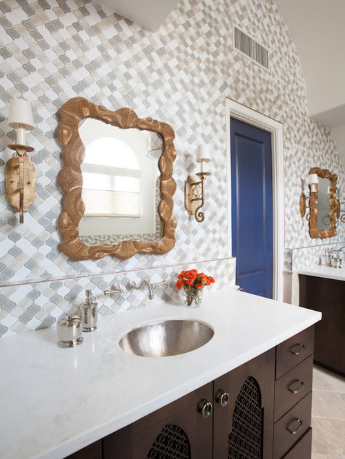 Mediterranean Multicolored Tile And Mosaic Tile Bathroom Idea In Houston  With An Undermount Sink And Dark