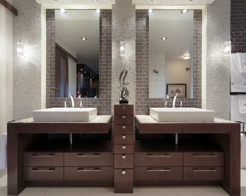Captivating Trendy Beige Tile And Mosaic Tile Beige Floor Bathroom Photo In Other With  A Vessel Sink