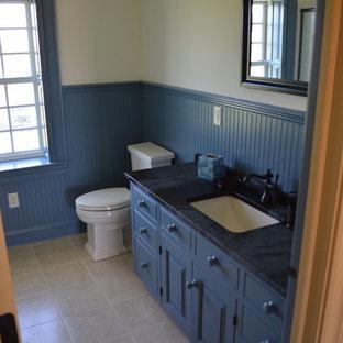 Imagen de cuarto de baño infantil, campestre, grande, con armarios con paneles con relieve, puertas de armario grises, encimera de esteatita, sanitario de dos piezas, paredes azules, suelo de linóleo y lavabo bajoencimera