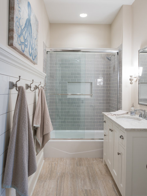 Coastal 3 4 gray tile and glass beige floor bathroom photo in  Minneapolis with 10 Best Beach Style Bathroom Ideas Houzz