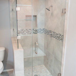 Mid Sized Transitional Gray Tile And Ceramic Floor Doorless Shower Photo In Houston