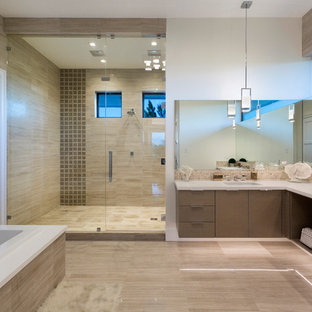 Large trendy master white tile and marble tile porcelain floor and gray floor bathroom photo in Miami with flat-panel cabinets, medium tone wood cabinets, white walls, an undermount sink, quartz countertops, white countertops and a hinged shower door