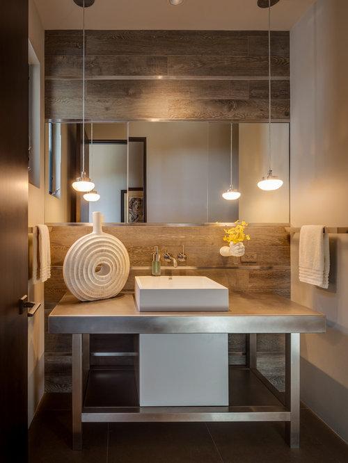 Fotos de baños | Diseños de baños con encimera de acero inoxidable y ...