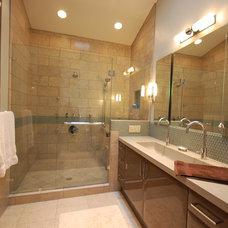 Contemporary Bathroom by Linda G Larisch, CMKBD, Designer for Airoom, LLC