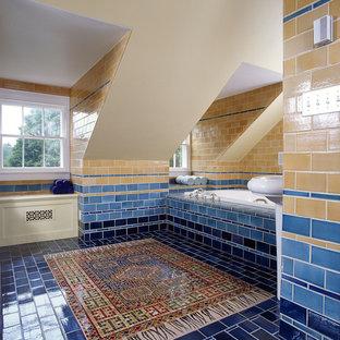 Alcove bathtub - contemporary multicolored tile and subway tile blue floor alcove bathtub idea in Santa Barbara