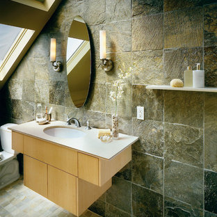 Inspiration for a slate tile slate floor bathroom remodel in Seattle with an undermount sink