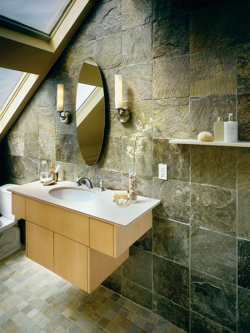 Exceptional Inspiration For A Slate Tile Slate Floor Bathroom Remodel In Seattle With  An Undermount Sink