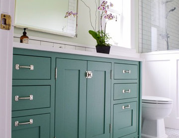 Spa Like Bath with Green Painted Vanity