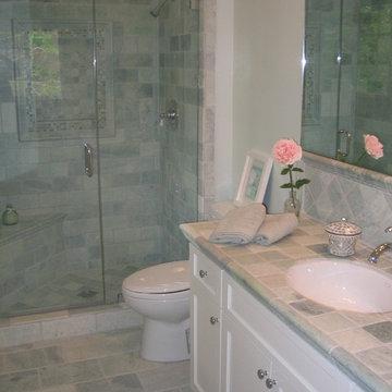 Spa-Like Guest Bath Renovation Aqua and White