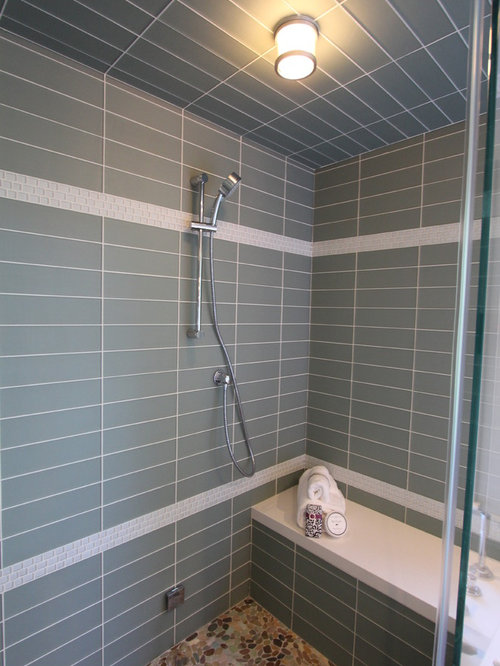 Walk In Shower With Seat Sauna Design Ideas, Remodels & Photos with Glass Tile