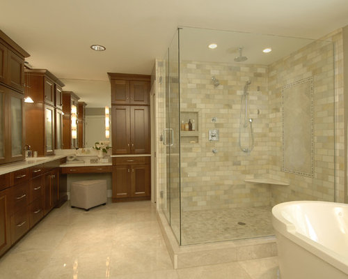 Travertine wall tile home design ideas pictures remodel for Bathroom cabinets townsville