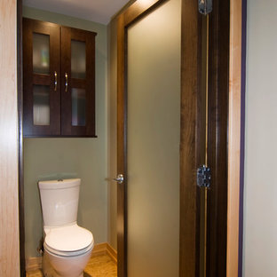 Large zen master light wood floor bathroom photo in Grand Rapids with glass-front cabinets, dark wood cabinets and green walls