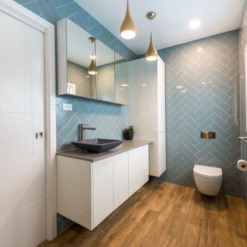 Space Efficient Modern Duck Egg Blue Bathroom