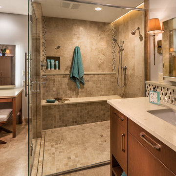Spacious curb-less shower with abundant seating