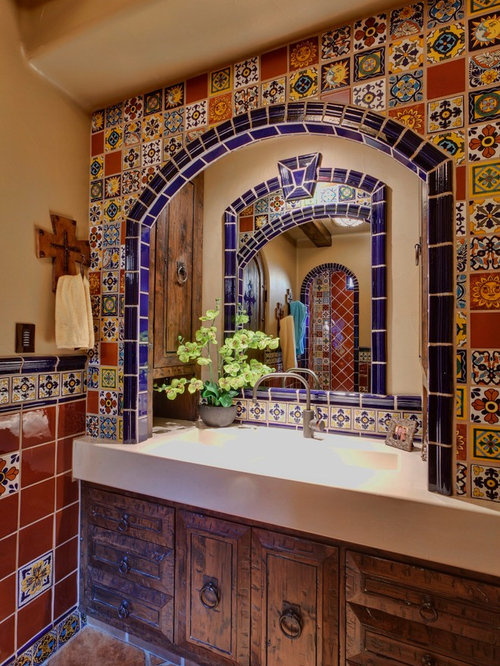 bathroom sink in spanish tile sinks houzz 16520