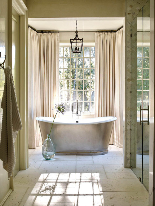example of a coastal master walk in shower design in other with white floors and. beautiful ideas. Home Design Ideas