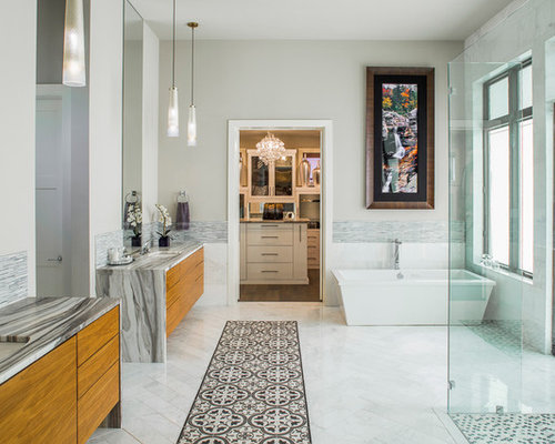 example of a trendy master multicolored tile and matchstick tile marble floor bathroom design in austin - Matchstick Tile Home Design