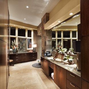 Ispirazione per una stanza da bagno minimal con lavabo sottopiano, ante lisce, ante in legno bruno, piastrelle beige e piastrelle in ardesia