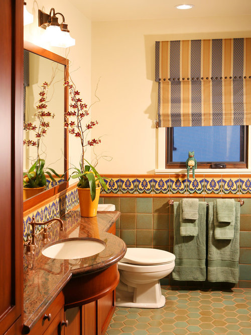 Spanish revival houzz for Mexican themed bathroom ideas