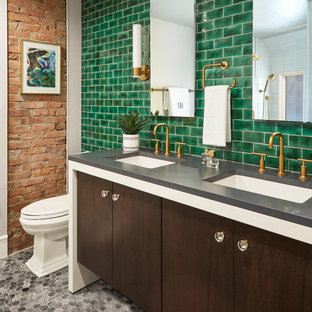 Bathroom - contemporary green tile and subway tile mosaic tile floor, gray floor, double-sink and brick wall bathroom idea in Other with flat-panel cabinets, dark wood cabinets, an undermount sink, gray countertops and a floating vanity