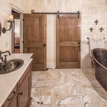 Sparkling Sinks and rustic barn door hardware