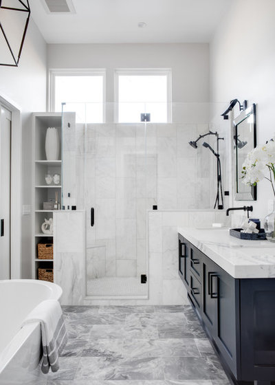 Beach Style Bathroom by Three Salt Design Co.
